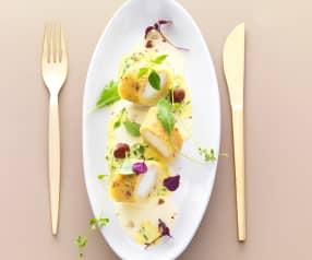 L'œuf comme une omelette soufflée, émulsion noisettes, vinaigrette jaune aux herbes fraîches - Eric Guérin