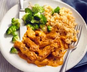 Schweinegeschnetzeltes mit Reis und Brokkoli