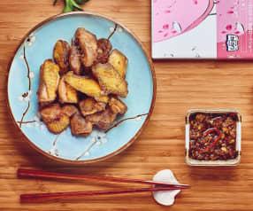 Pollo croccante con salsa di porri