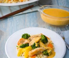 Arroz basmati con verduras y pollo al curry de mango