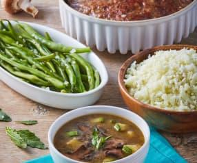 Sopa de hongos, pastel de carne, ejotes y arroz de coliflor