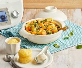 Mijoté de légumes de printemps et baba à la vapeur