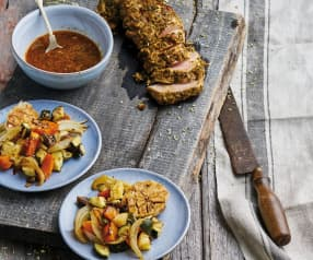 Lombinho de porco com legumes assados no forno