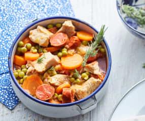 Sauté de veau carottes, chorizo et petits pois