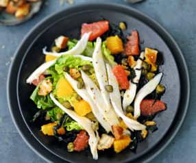Salade de raie aux agrumes, câpres et croûtons