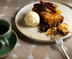 Date, orange and olive oil cake with salted white chocolate ice cream