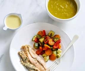 Sopa e salmão com legumes