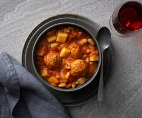Chorizo meatballs and potato stew