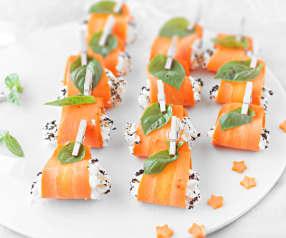 Bocaditos de zanahoria con crema de mozzarella