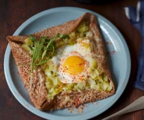 Galettes aux poireaux, œuf et comté