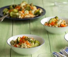 Pollo all'orientale con riso e verdure al vapore