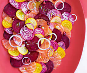 Carpaccio de saumon et betteraves multicolores