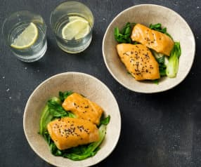 Miso fish with Asian greens