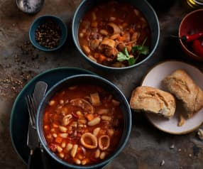 Slow-cooked Chorizo and Squid Stew with Butter Beans
