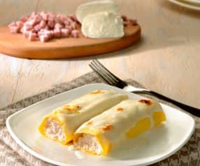 Canelones de mozzarella y jamón de York