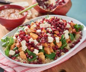 Ensalada templada de quinoa con batatas asadas y granada