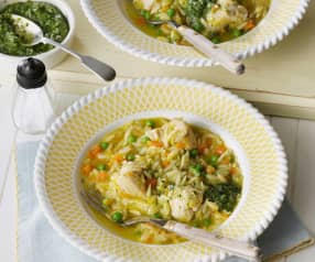 Orzo Pasta with Chicken and Pesto