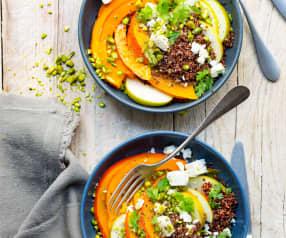 Salade de potimarron, quinoa rouge et feta