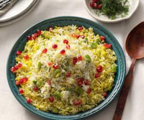 Persischer Dill- und Limabohnen-Reis mit Granatapfel