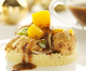 Cuscús de pollo marinado y mango