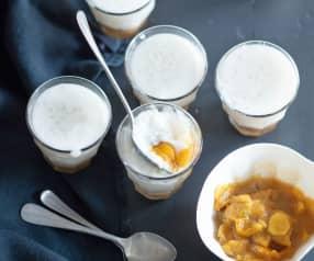 Menu veggie - Perles du Japon, lait d'amande, compotée de mirabelles