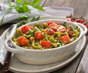 Judías verdes salteadas con tomates cherry