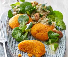 Süßkartoffelklöße auf Porree-Pilz-Ragout
