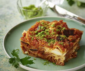 Lasagne v páře s lilkem a ricottou