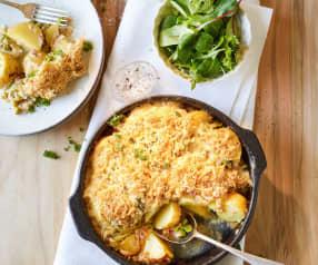 Überbackene Frühkartoffeln mit Schinken und Erbsen
