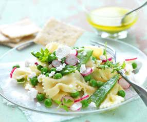 Salade de pâtes aux petits pois, pesto citron