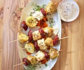 Kartoffel-Spieße mit Chorizo und Feta