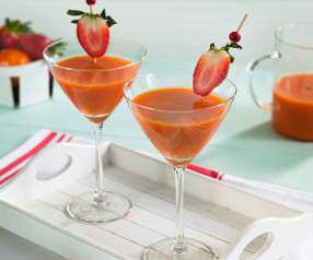 Cóctel de fresas, mandarina y mango