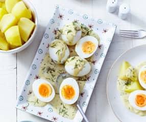 Senfeier mit Kartoffeln