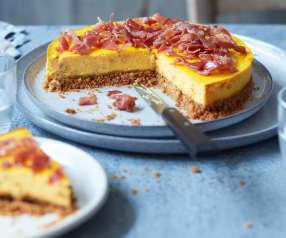 Cheesecake à la brousse, carottes et jambon cru