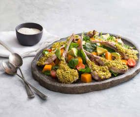 Lamb cutlets with pumpkin and pistachio salad