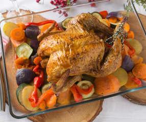 Pollo asado con guarnición de verduras al aroma de sidra