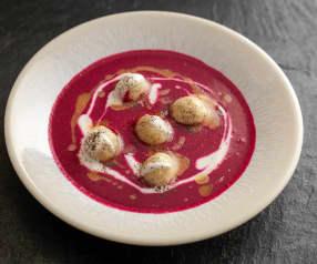 Beetroot Soup, Horseradish Dumplings