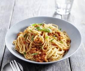 Spaghetti mit Kichererbsensugo