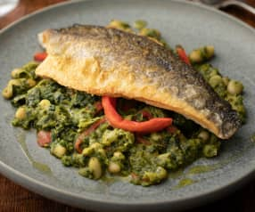 Sea Bass with Cavolo Nero, Cannellini Beans and Red Pepper