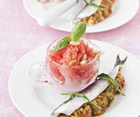 Boquerones marinados con sorbete de Bloody Mary