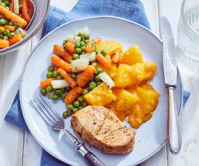 Pute mit Rahmkartoffeln und Gemüsemix