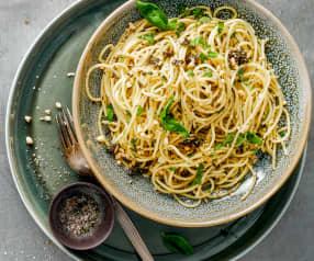 Spaghettis à la tapenade d'olives