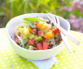 Sałatka z kolorowych pomidorów i pesto z rukoli