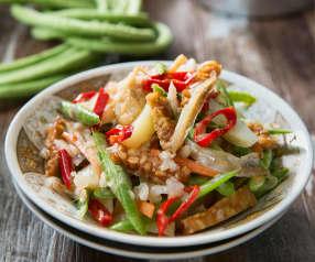 Sambal goreng (chilli stir-fried vegetables and prawns)
