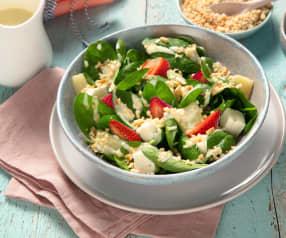 Spinatsalat mit Rhabarber und Erdbeeren
