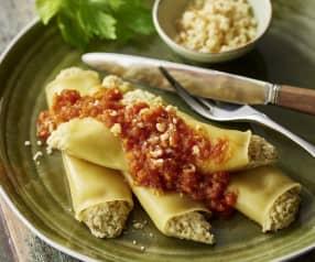 Cannellonis à l'artichaut, sauce tomate