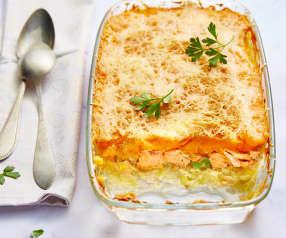 Parmentier de patate douce au saumon et poireau