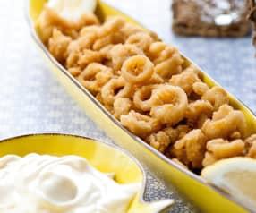 Lulas crocantes com maionese