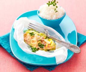 Papillotes de saumon, coriandre et citronnelle