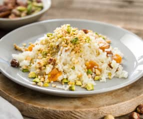 Arroz crujiente con frutos secos